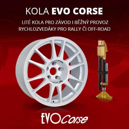 Evo Corse wheels for competition and street use, fast hydraulic jacks for rally and offroad and other products for motorsport